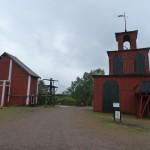 Falun - Förderturm rechts, Antriebsrad im linken Haus