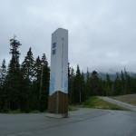 Säule am Eingang für das olympische Feuer