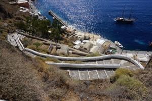 die berühmten 596 Treppen zum Hafen, auch Esel müssen hoch und runter