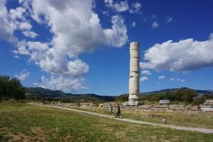 Samos - Heratempel - Säule und Feld des Tempels
